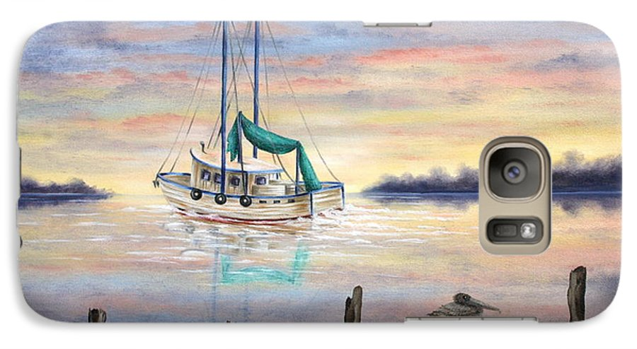Seascape Galaxy S7 Case featuring the painting End Of The Day by Ruth Bares