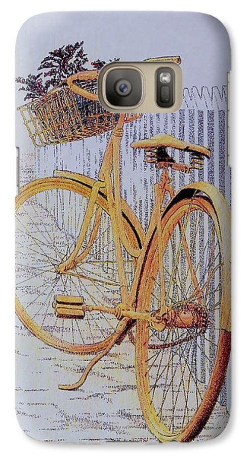 Bicycle Yellow Summer Flowers Plants Galaxy S7 Case featuring the painting Endless Summer by Tony Ruggiero