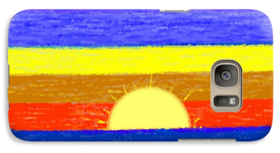 Evening.sky.stars.colors.violet.blue.orange.yellow.red.sea.sunset.sun.sunrays.reflrction. Ater. Galaxy S7 Case featuring the digital art Evening Colors by Dr Loifer Vladimir