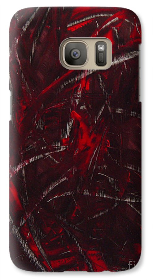 Abstract Galaxy S7 Case featuring the painting Expectations Red by Dean Triolo