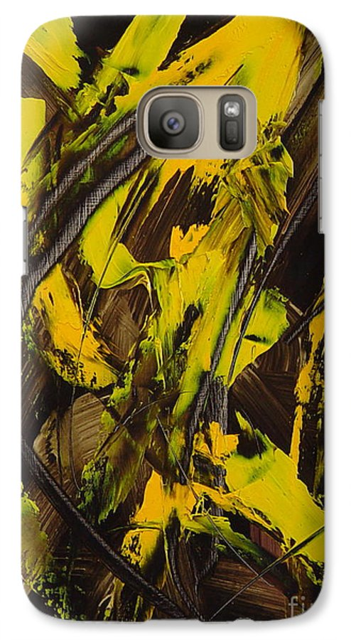 Abstract Galaxy S7 Case featuring the painting Expectations Yellow by Dean Triolo