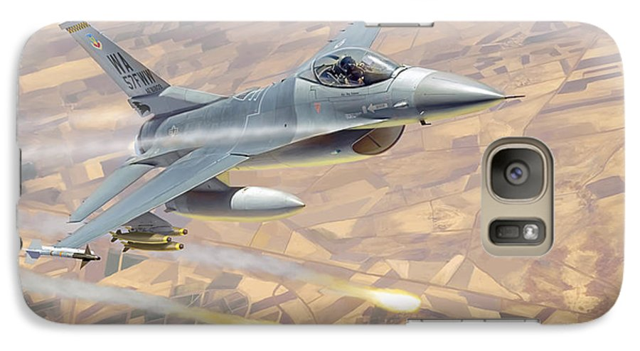 Aviation Galaxy S7 Case featuring the painting F-16 Fighting Falcon by Mark Karvon