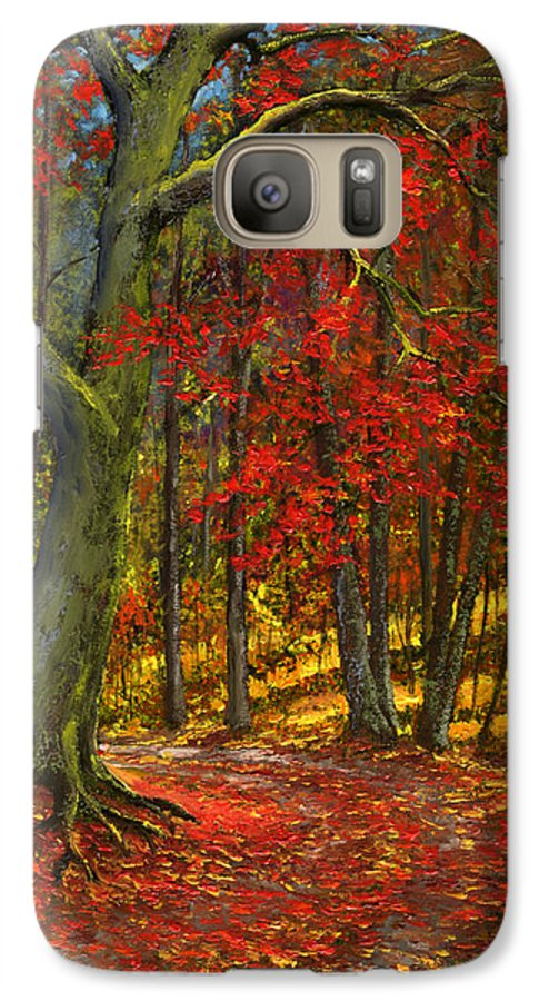 Landscape Galaxy S7 Case featuring the painting Fallen Leaves by Frank Wilson