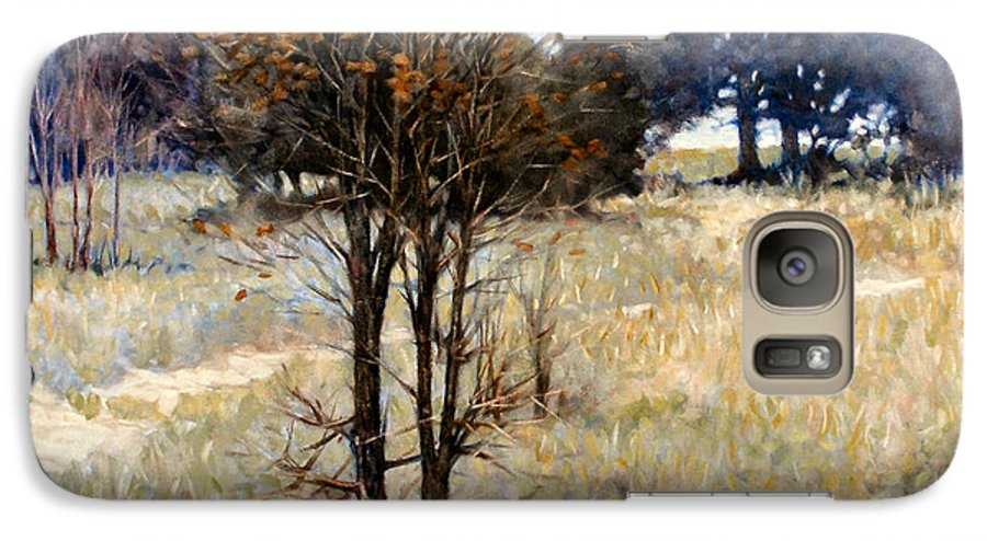 Landscape Galaxy S7 Case featuring the painting Feathery Field by Kevin Lawrence Leveque
