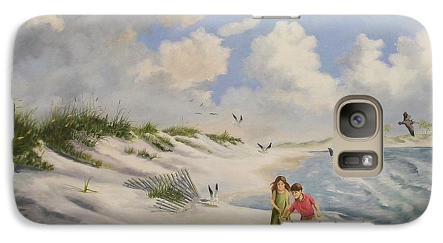 2 Children Galaxy S7 Case featuring the painting Feeding The Wildlife by Wanda Dansereau