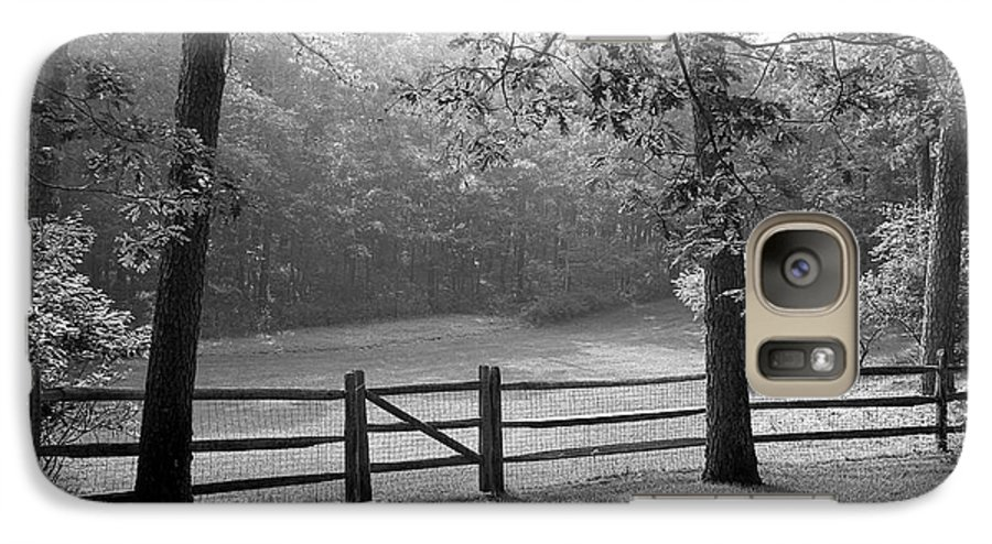 Black & White Galaxy S7 Case featuring the photograph Fence by Tony Cordoza