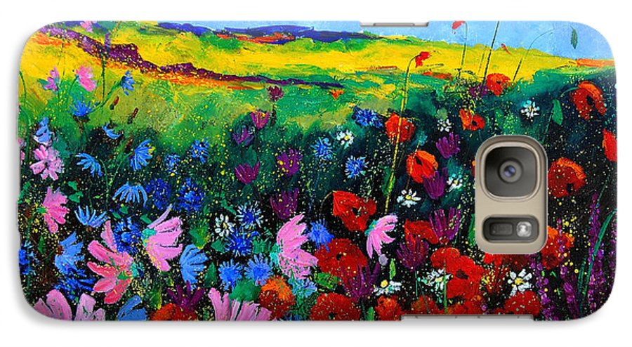 Poppies Galaxy S7 Case featuring the painting Field Flowers by Pol Ledent