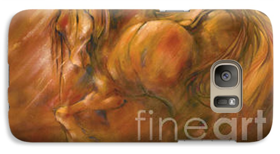 Horse Galaxy S7 Case featuring the painting Fire by Wendy Froshay