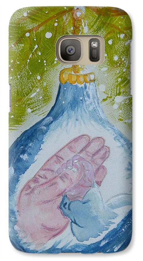 Christmas Galaxy S7 Case featuring the painting First Christmas II by Margaret G Calenda