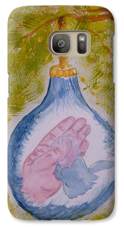 Christmas Galaxy S7 Case featuring the painting First Christmas by Margaret G Calenda