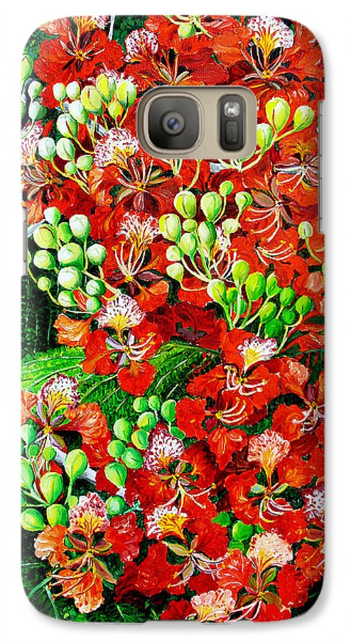 Royal Poincianna Painting Flamboyant Painting Tree Painting Botanical Tree Painting Flower Painting Floral Painting Bloom Flower Red Tree Tropical Paintinggreeting Card Painting Galaxy S7 Case featuring the painting Flamboyant In Bloom by Karin Dawn Kelshall- Best