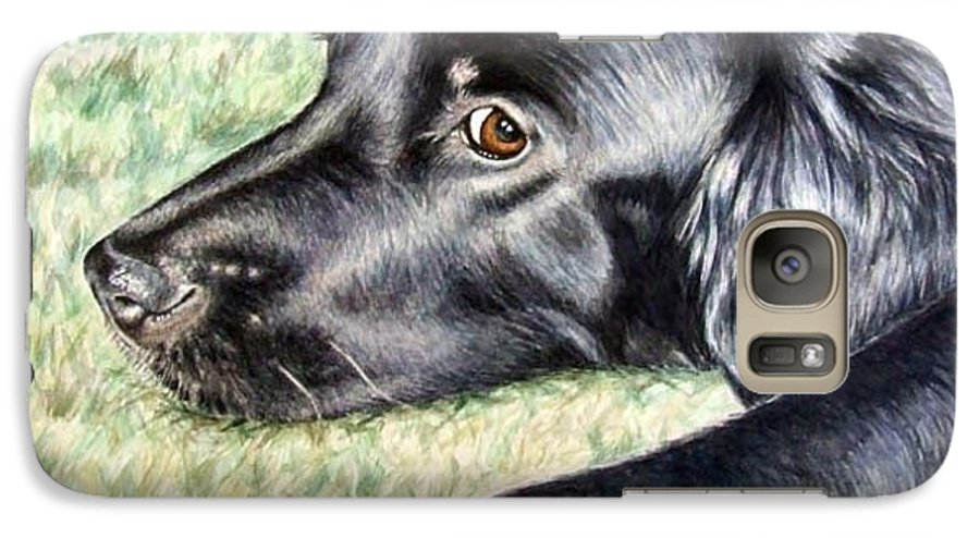 Dog Galaxy S7 Case featuring the painting Flat Coated Retriever by Nicole Zeug