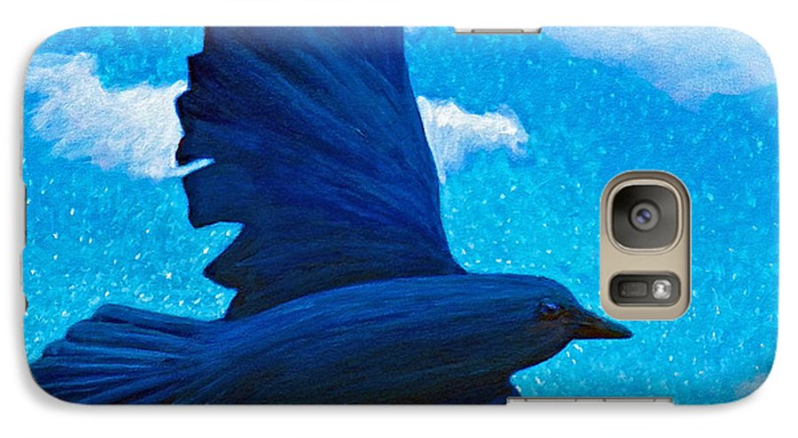 Raven Galaxy S7 Case featuring the painting Flight by Brian Commerford