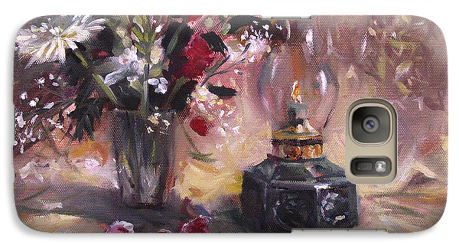 Flowers Galaxy S7 Case featuring the painting Flowers With Lantern by Nancy Griswold