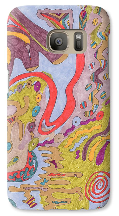 Butterfly Galaxy S7 Case featuring the drawing Flutterfly Land by Rebekah McLeod