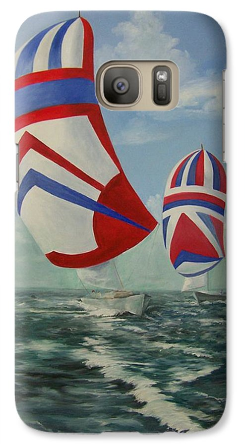 Sailing Ships Galaxy S7 Case featuring the painting Flying The Colors by Wanda Dansereau