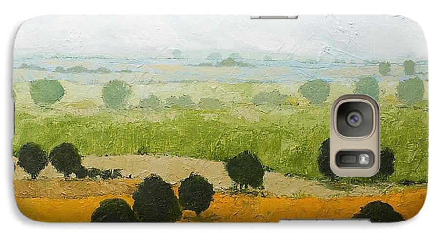 Landscape Galaxy S7 Case featuring the painting Fog Lifting Fast by Allan P Friedlander