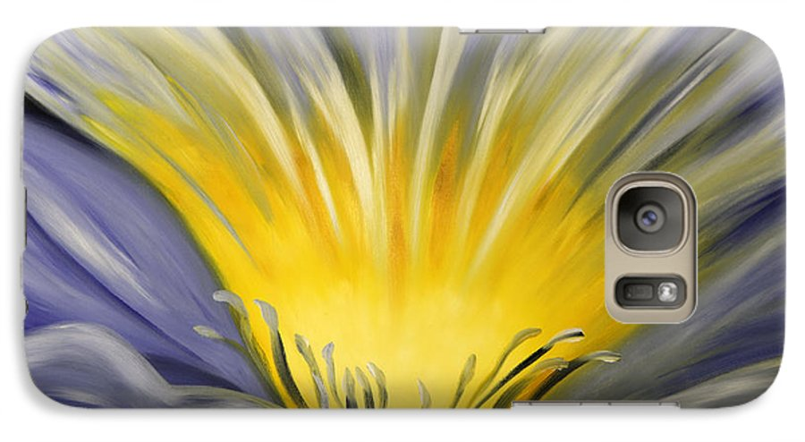 Blue Galaxy S7 Case featuring the painting From The Heart Of A Flower Blue by Gina De Gorna