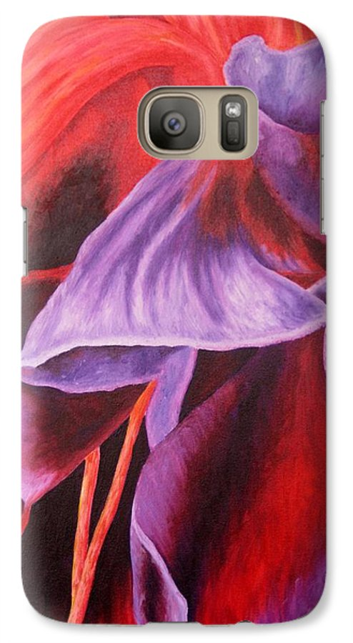 Floral Galaxy S7 Case featuring the painting Fuschia Folds by Darla Brock