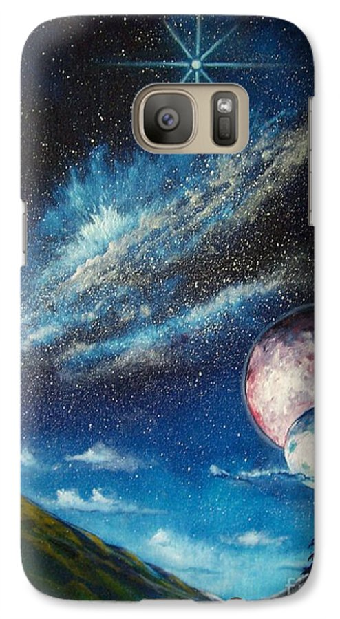 Space Horizon Galaxy S7 Case featuring the painting Galatic Horizon by Murphy Elliott