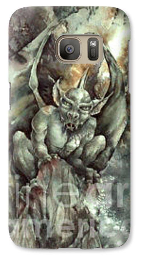 Gargoyle Galaxy S7 Case featuring the painting Gargoyle by Wendy Froshay