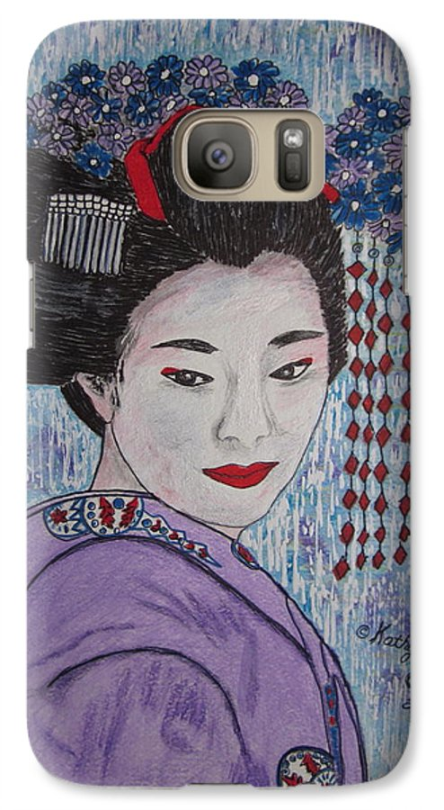 Oriental Galaxy S7 Case featuring the painting Geisha Girl by Kathy Marrs Chandler