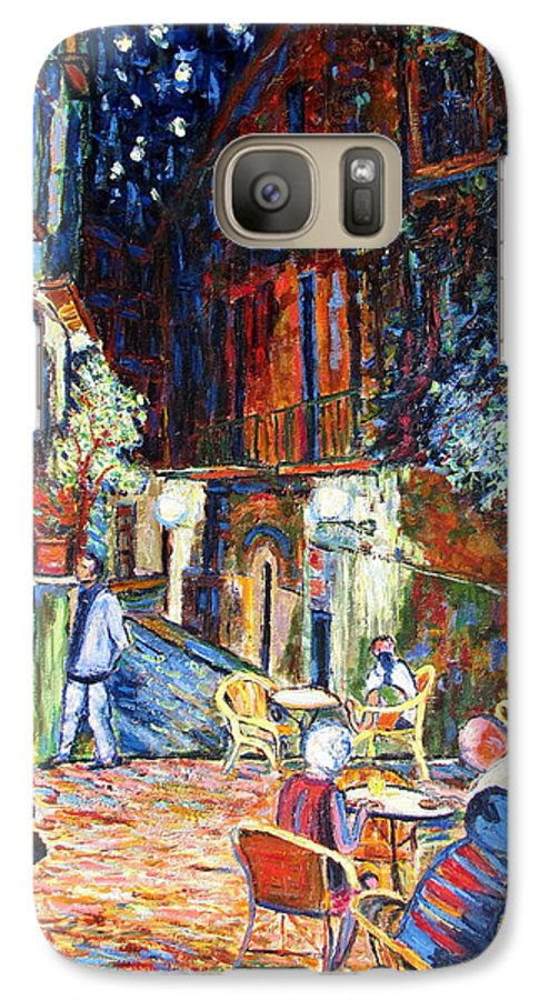 Impressionsist Spain Cafe Night Stars Van Gogh Galaxy S7 Case featuring the painting Gerona by Rob White