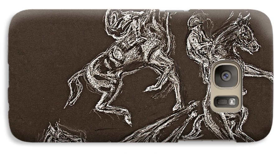 Rearing Horse Galaxy S7 Case featuring the drawing Ghost Riders In The Sky by Tom Conway