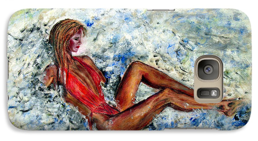 Girl Galaxy S7 Case featuring the painting Girl In A Red Swimsuit by Tom Conway