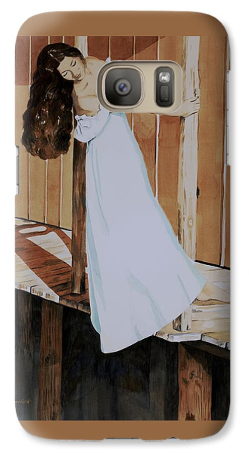 Girl On Dock Galaxy S7 Case featuring the painting Girl On Dock by Judy Swerlick