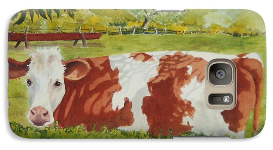 Cows Galaxy S7 Case featuring the painting Give Me Moooore Shade by Mary Ellen Mueller Legault