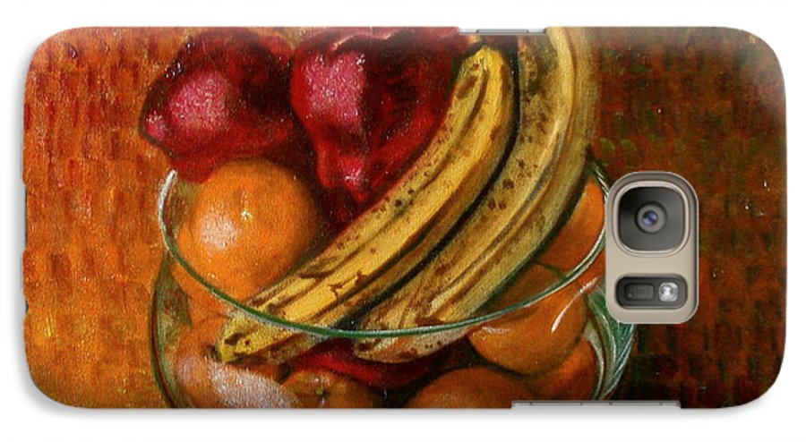 Still Life Galaxy S7 Case featuring the painting Glass Bowl Of Fruit by Sean Connolly
