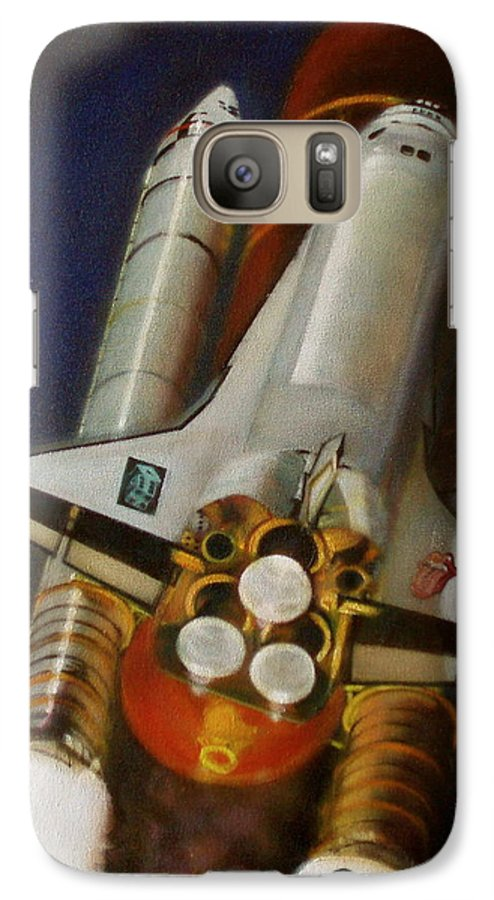 Space Shuttle;launch;liftoff;blastoff;rockets;engines;astronauts;spaceart;nasa;photorealism Galaxy S7 Case featuring the painting God Plays Dice by Sean Connolly
