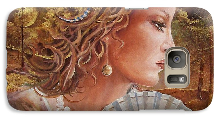 Female Portrait Galaxy S7 Case featuring the painting Golden Wood by Sinisa Saratlic