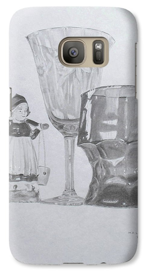 Glassware Galaxy S7 Case featuring the drawing Grammas Glasses by Mary Ellen Mueller Legault