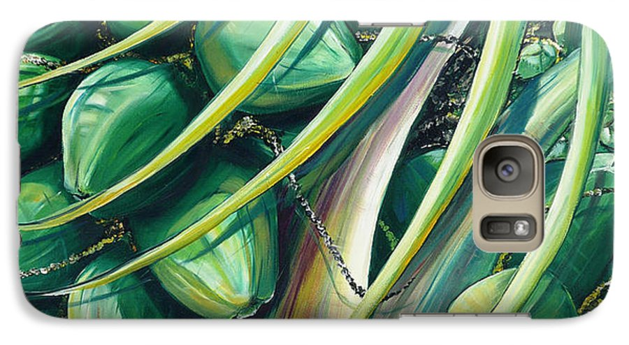 Coconut Painting Caribbean Painting Coconuts Caribbean Tropical Painting Palm Tree Painting  Green Botanical Painting Green Painting Galaxy S7 Case featuring the painting Green Coconuts 2 by Karin Dawn Kelshall- Best