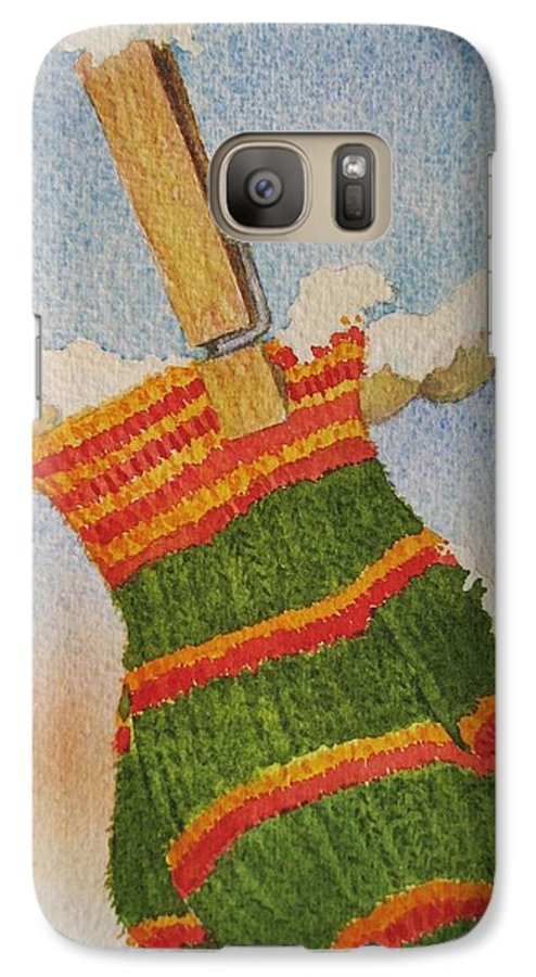 Children Galaxy S7 Case featuring the painting Green Mittens by Mary Ellen Mueller Legault