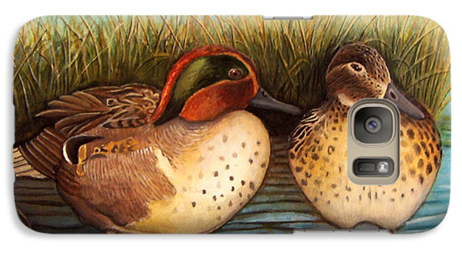 Rick Huotari Galaxy S7 Case featuring the painting Green Winged Teal by Rick Huotari