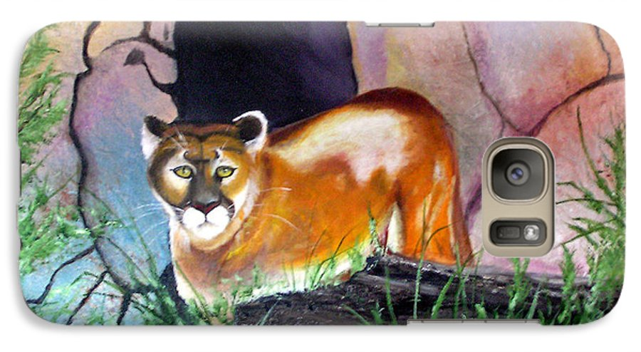 Big Cats Galaxy S7 Case featuring the painting Guarding The Cave by Lora Duguay