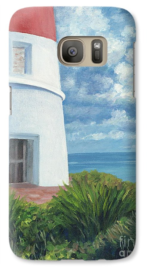 Seascape Galaxy S7 Case featuring the painting Gun Cay Lighthouse by Danielle Perry