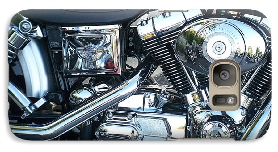 Motorcycles Galaxy S7 Case featuring the photograph Harley Black And Silver Sideview by Anita Burgermeister