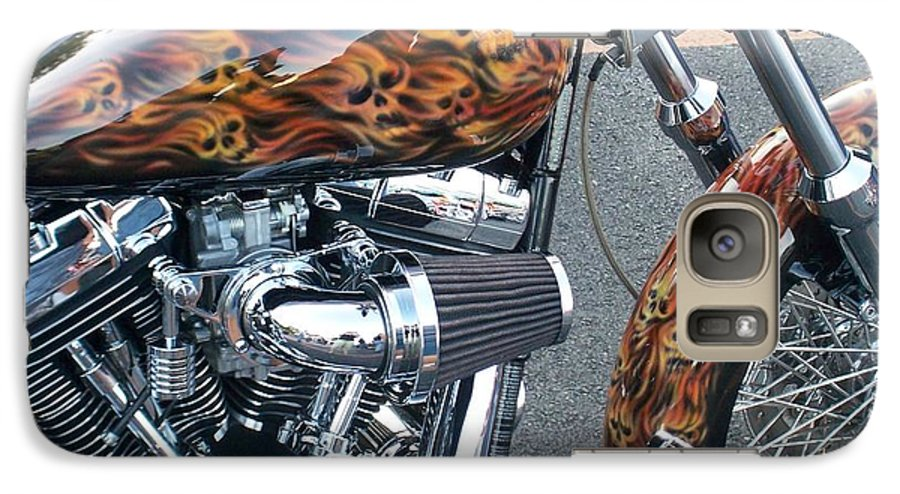 Motorcycles Galaxy S7 Case featuring the photograph Harley Close-up Skull Flame by Anita Burgermeister