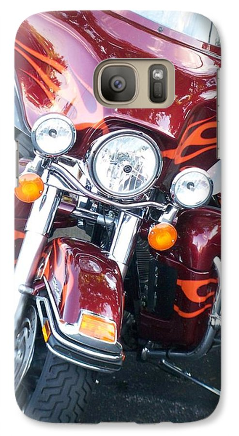 Motorcycles Galaxy S7 Case featuring the photograph Harley Red W Orange Flames by Anita Burgermeister