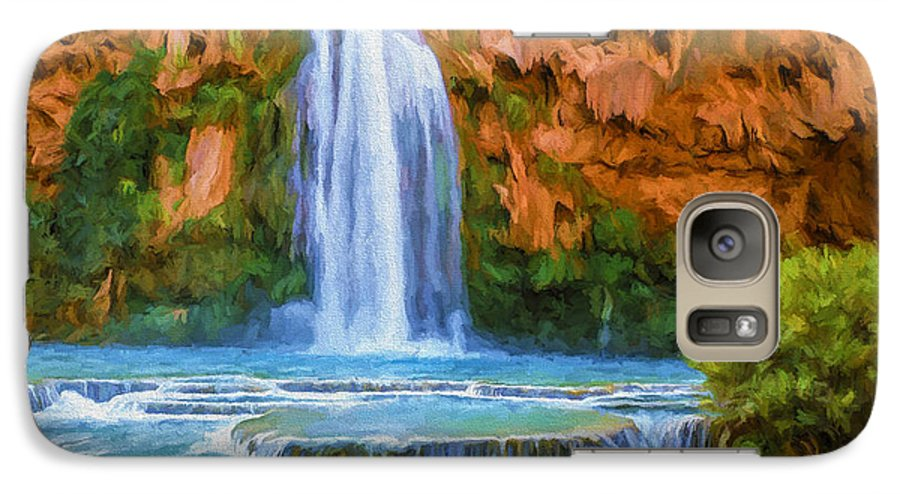 Fine Art Galaxy S7 Case featuring the painting Havasu Falls by David Wagner