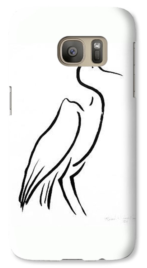 Calligraphy Galaxy S7 Case featuring the drawing Heron by Micah Guenther