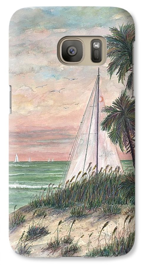Sailboats; Palm Trees; Ocean; Beach; Sunset Galaxy S7 Case featuring the painting Hideaway by Ben Kiger
