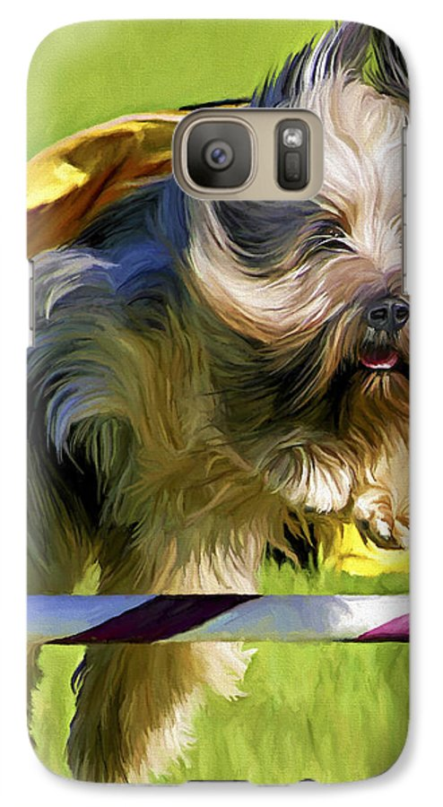Silky Terrier Galaxy S7 Case featuring the painting High Flier by David Wagner