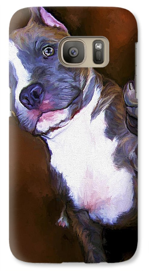 Pit Bull Galaxy S7 Case featuring the painting High Four by David Wagner