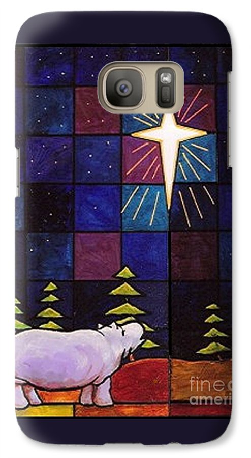 Christmas Galaxy S7 Case featuring the painting Hippo Awe And Wonder by Jim Harris