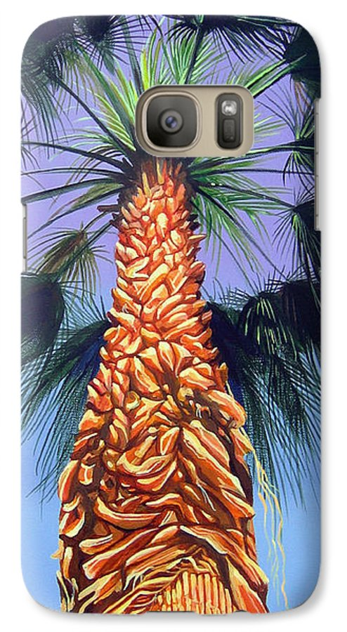 Palm Tree In Palm Springs California Galaxy S7 Case featuring the painting Holding Onto The Earth by Hunter Jay